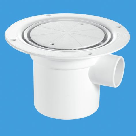 McAlpine TSG3WH Trapped gully & water seal, white plastic clamp ring & cover plate (4)